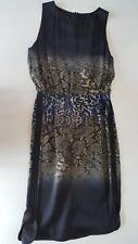 GIAMBATTISTA VALLI Black Silk Satin & Leopard Print Sheath Dress 44 M