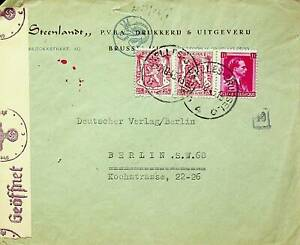 BELGIUM 1943 COAT OF ARMS FAMOUS PEOPLE 3v ON WWII CENSOR COVER TO GERMANY