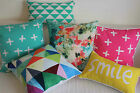 Art Aqua Mint Pink Yellow Set Home Decor Cotton CUSHION COVER PILLOW CASE 18""