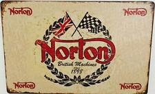 Norton Motorcycles Wall Hanging Metal Sign British Garage Workshop Café 30x20 cm
