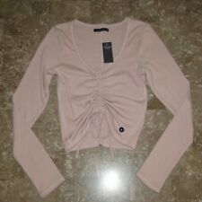 Abercrombie & Fitch Ribbed L/S Shirt NWT Size M Pink Women's Cinched Drawstring