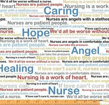 Nurse Medical RN Heart Words on White Cotton Fabric Windham Calling Nurses Yard