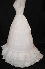 ANTIQUE DRESS PETTICOAT 1870 WITH VALENCIENNESLACE PIN TUCKS AND TRAIN