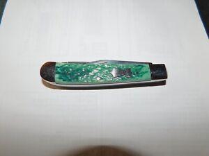 Remington Trapper Made in USA Green Handles Folding  Pocket Knife