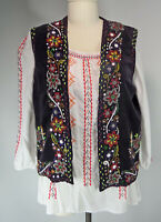 Vintage Embroidered Beaded Velvet Vest M/L Traditional Romanian Gypsy