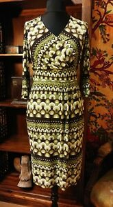 PHASE EIGHT Retro 60's 70's Print Green & Brown Stretch Mock Wrap Dress UK 14