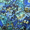 Clothworks Feline Frolic by Laurel Burch Y2798 31M Blue Packed Cats BTY