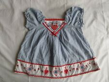 Mothercare Girls Blue Checked 100% Cotton Dress Size 18-24 Months
