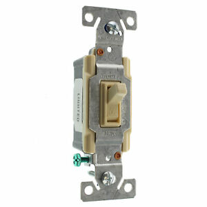 EATON COOPER C1301-7LTV-L LIGHTED TOGGLE SWITCH, 1-POLE, 15A, 120V, IVORY