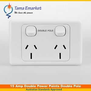 15 Amp Double Pole 240V Power Point GPO Outlet For Caravans & Trailers 15A