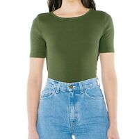 American Apparel Women's Top Olive Green Size Small S Ribbed Knit Fitted $30 109