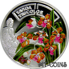 2011 Rwanda ORCHIDACEOUS VANDA TRICOLOR with BUDDHA Silver Proof Coin *very rare