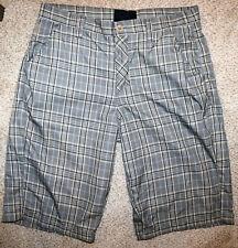 NEW HURLEY Khaki Green Gray Plaid Chino Shorts Size 32