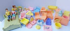 Playskool Dollhouse Doll house Furniture Figure Mom Dad Baby Washer Dryer Suds +