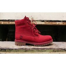 Mens Timberland 6 Inch Boot Premium Nubuck Leather Suede Red Mono UK 8 US 8.5