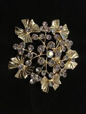 Gift Stockings Uk Seller Auction Only Gold Played Crystal Brooch Wedding Xmas