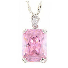 Pendant Rectangle Pink Sapphire White Gold Plated Cubic Zirconia Free Necklace