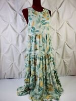 A New Day Womens Multicolor Sleeveless Floral Print Tiered Dress Small