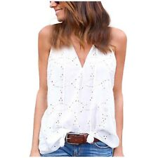 Womens Size S Eyelet Embroidered Tassel Tie Swing Tank Top White Cotton Boho