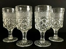 Vintage Set Of 4 Anchor Hocking Wexford Clear Glass 8 Oz Goblets