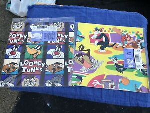 Vintage 1994 Looney Tunes Hallmark Sports Wrapping Paper Bugs Taz Sylvester