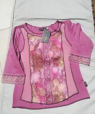 Haut/top/tee-shirt VANGO, vieux rose, broderies, filet et perles, T 2 (38) NEUF