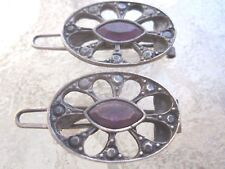 Vintage Mini Amethyst Navette Hinge Back Pair of Barrettes New Made in USA