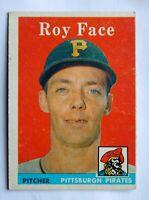 Roy Face #74 Topps 1958 Baseball Card (Pittsburgh Pirates) G