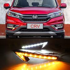 2X LED Daytime Running Fog Light Lamp DRL w/ Signal For HONDA CR-V CRV 2015-2017