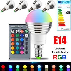 E14 RGB LED Birne Dimmbar Farbwechsel Leuchtmittel Lampe Glühbirne Fernbedienung