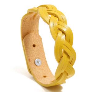 Fashion Leather Band Bangles Wristband Cuff Men Cowhide Weave Bracelets Jewelry