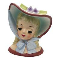 "Vintage 1959 Lady Head Vase Napco C3812B Southern Belle Hat 6"" MCM Mid Century"