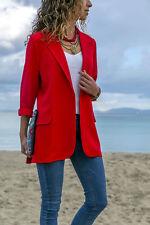 UK Womens Blazer Ladies Open Front Collared Slim Suit Jacket Coat Top Size 10-16