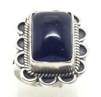Navajo Braided Rectangle Amethyst Sterling Silver 925 Ring 8g Sz.7 Adj CG1825