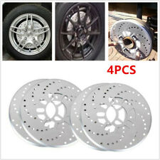 "Silver Tone Aluminum Cross Drilled Car Disc Brake Rotor Cover 14""/ larger wheel"