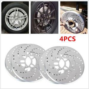 "Silver Tone Aluminum Cross Drilled Car Disc Brake Rotor Cover 14""/ larger wheel"