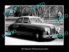 OLD POSTCARD SIZE PHOTO OF MG MAGNETTE 1956 LAUNCH PRESS PHOTO