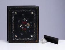 "English Antique Black Lacquer Lap Desk Paper Mache Mother of Pearl 10"""