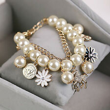 Women's Faux Pearl Charm Bracelet Horse Flower Charm Bangle Jewelry Gift Fashion