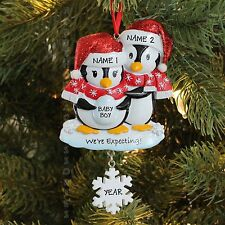Penguin Family of 2 Expecting Baby Boy Girl Personalized Christmas Tree Ornament