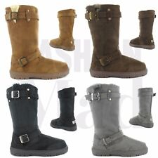 Ladies ELLA Faux Suede Fur Lined Tall Warm Winter Buckle Biker Snow Boots-Harley