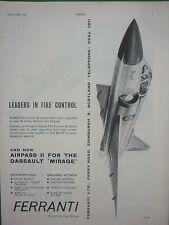 10/61 PUB FERRANTI AIRPASS II RADAR FIRE CONTROL SYSTEMS DASSAULT MIRAGE III AD