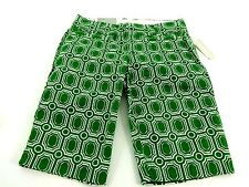 NWT OLD NAVY WOMENS GREEN & WHITE ABSTRACT CASUAL LONG SHORTS SHORTS SIZE 2