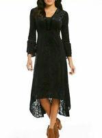 REBA Let It Shine Bell Sleeve Burnout Velvet Dress BLK NWT$158 1711-7134