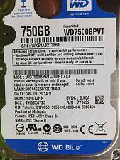 Western Digital 750 GB WD7500BPVT-00HXZT3 DCM:HHCTJHN | 28JUL2014 Festplatte