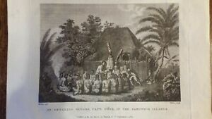 1784 ANTIQUE ENGRAVING - AN OFFERING BEFORE CAPTAIN COOK IN THE SANDWICH ISLANDS