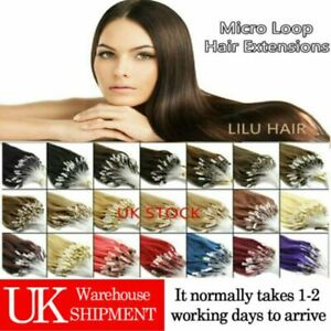 """14""""-26"""" Micro Loop Ring Beads Indian Remy HALO Human Hair Extensions 100s UK 1st"""