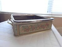 Vintage Pyrex #222 Amber Casserole Baking Dish with Metal Carrier Holder Caddy