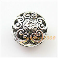 4 New Charms Round Flower Heart Flat Spacer Beads 17mm Tibetan Silver