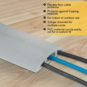 Floor Cord Protector Covers Cables Wires 4 Feet Long Home Office Walkway Gray